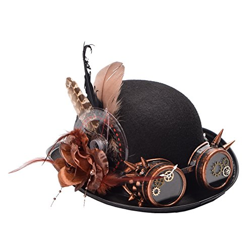 BLESSUME Steampunk Parte Superior Sombrero con Gafas de protección Pluma Decoración