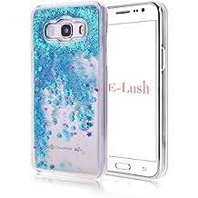 Funda Samsung J5 2016,E-Lush[Liquid Crystal] Bling Purpurina llamativa Funda Protectora Dura Anti-rasguño y a Prueba de Golpes Bumper [Semi-transparent Quicksand] Ligero Funda para Samsung J5 2016