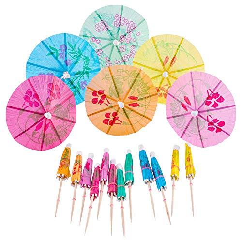 Rrunzfon 144pcs Cocktail Picks Kuchen-Deckel Umbrella Drink Picks Cocktail Sonnenschirme Papierschirme Regenschirme Drink Sticks für Cocktail-Dekoration zufällige Farbe