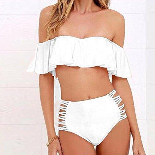 Overdose Damen Push Up Bikini-Sets Tankini Slip Beaderock Neckholder Bandeau Badeanzug Bademode swimwear swimsuits A-Z-Weiß