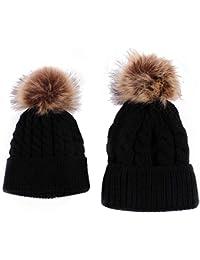 Sombreros de bebé, RETUROM Forme a invierno el sombrero caliente de la mamá y del bebé que hace punto