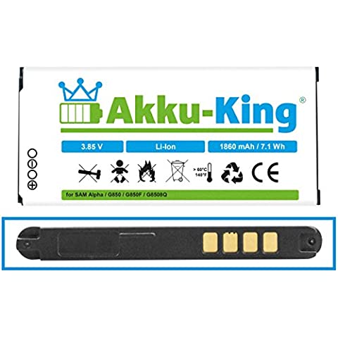 AH-King batería de repuesto para Samsung Galaxy Alpha SM-G850, SM-G8508, SM-G8508S, SM-G8509v - sustituye a EB-BG850BBC, EB-BG850BBE - Li-ion 1860