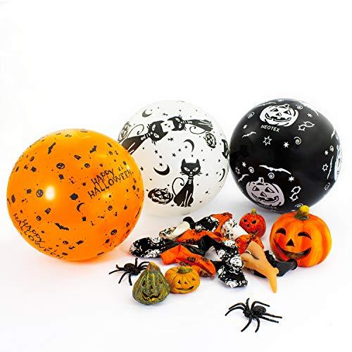 Luftballons für Halloween Gruselige Horror Feier Party Deko Ballons in Weiß, Schwarz und Orange ()