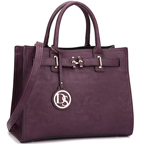 Dasein Damen Handtaschen und Gürteltaschen mit Tragegriff und Quaste, Violett (dunkelviolett), Medium