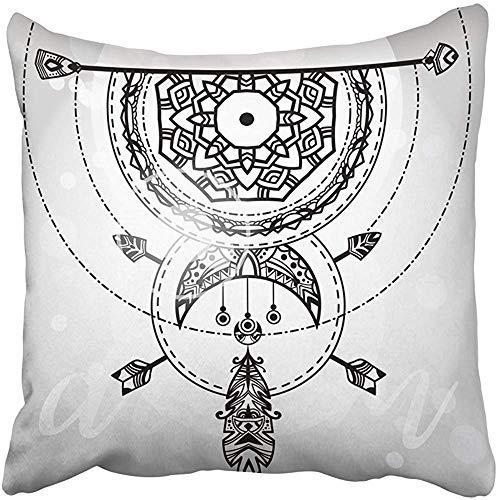 ZGNNN-EU - Funda de cojín con diseño Tribal Bohemio de atrapasueños, diseño étnico Blanco y Negro, 50 x 50 cm