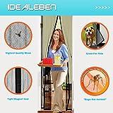 Idealeben Cortina mosquitera puerta - Adhesivo velcro cortinas mosquiteras para fijar puertas anti-mosquitos magnéticos 110 x 210 cm (Negra)