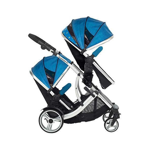 Kids Kargo Duellette 21 Combi Travel system Pram double pushchair NEW COLOUR RANGE! (French aqua plain bumpers) Kids Kargo Demo video please see link https://www.youtube.com/watch?v=X_tEcnQ8O8E%20 Suitability Newborn - 15kg (approx 3 yrs). Carrycot converts to seat unit incl mattress Carrycot & car seats fit in top or bottom position. Compatible car seats; Kidz Kargo 0+, Britax Babysafe 0+ (no adapters needed) or Maxi Cosi adaptors 3