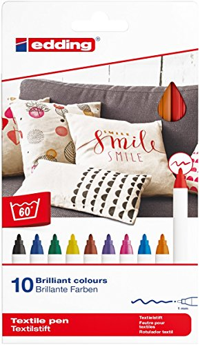 edding 4600 Textil-Stift - 10er Set - Standard Farben - Rundspitze 1 mm - Zum Bemalen von Textilien...