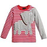 mioim Kinder Langarmshirt Elefant Jungen Mädchen Sweatshirt Baumwolle Winter Pullover Rot 140 cm