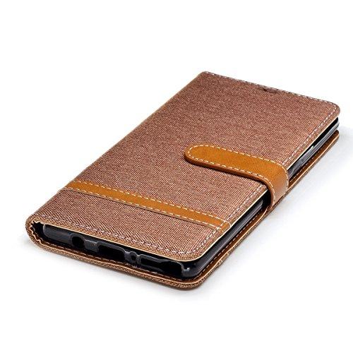 Custodia Galaxy Note 8, ISAKEN Flip Cover per Samsung Galaxy Note 8 con Strap, Elegante Bookstyle Contrasto Collare PU Pelle Case Cover Protettiva Flip Portafoglio Custodia Protezione Caso con Support Plain marrone
