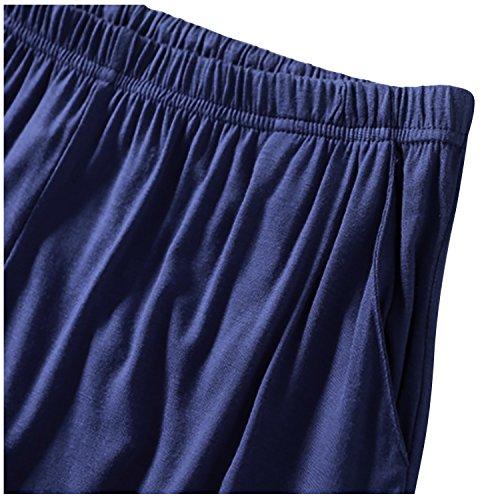 Dolamen Herren Schlafanzughose Hose Shorts kurz, Modal Baumwolle unterwäsche boxershorts Nachtwäsche Trunk Pyjamahose verstellbarem Elastik-Bund Taschen Schlafen Freizeit Blau