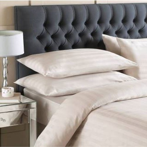 Linens Limited Blenheim Satin Stripe 100% Cotton 200 Thread Count Duvet Cover & Pillow Case Set, Taupe, Double