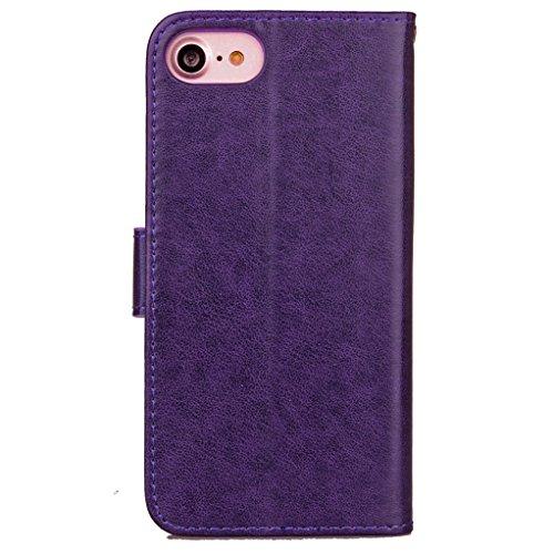 """Trumpshop Smartphone Case Coque Housse Etui de Protection pour Apple iPhone 7 4.7"""" (Couleur unie) + Rouge + Ultra Mince Smarphonetcoque Portefeuille PU Cuir Avec Fonction Support Anti-Choc Anti-Rayure Violet"""