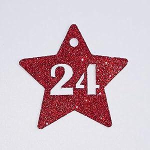 Adventskalender Zahlen Anhänger 24 Adventskalenderzahlen Sterne zum Anhängen GLITTER klassisches ROT Adventskalender…