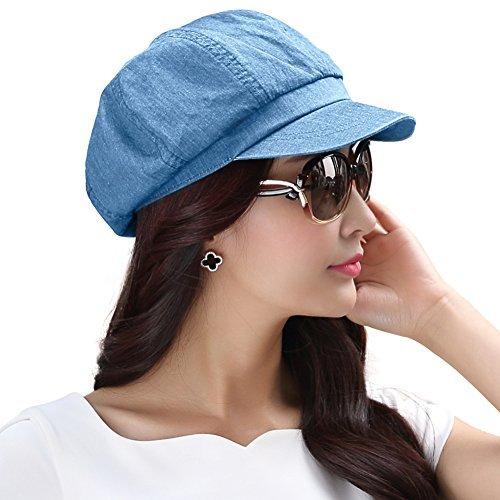 SIGGI 100% Baumwolle hellblaue Zeitungsjunge Mütze Maler Barett Mütze Für Frauen Mit Visor Baskenmütze Schirmmütze