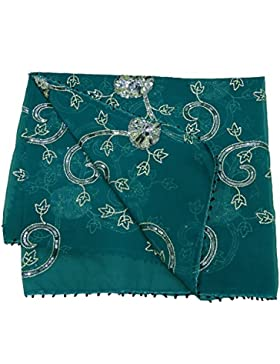 Mujeres Elegante Dupatta Georgette Tela Boda Diseñador Mantón Azul Indio Vendimia Étnico Estola