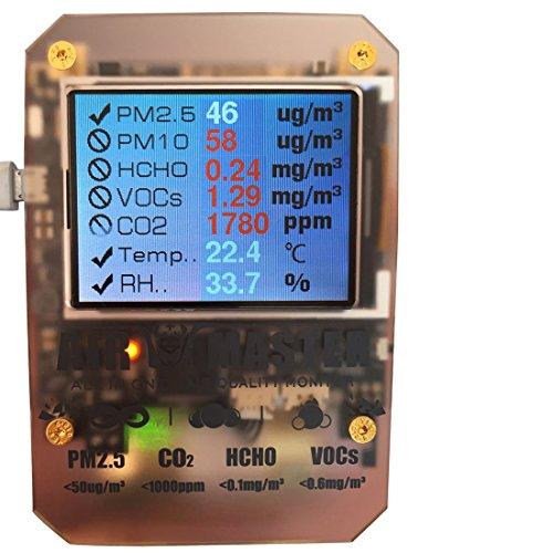 Preisvergleich Produktbild 14Rauchmelder Index in 1Indoor-Air Qualität Detektor PM 1.0, PM 2,5, PM10Detektor HCHO Detektor VOC Detektor CO2Feuchtigkeit Detektor Temperatur und andere 6stimmungsvolle Partikel mit Dart Sensor