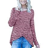 OSYARD Damen Unregelmäßige Sweatshirt Rundhalsausschnitt Langarmshirts, Frauen Casual Solid Unregelmäßige Langarm Shirt Tunika Button Down Tops Bluse Pullover (S, Rot)