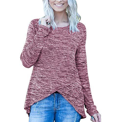 OSYARD Damen Unregelmäßige Sweatshirt Rundhalsausschnitt Langarmshirts, Frauen Casual Solid Unregelmäßige Langarm Shirt Tunika Button Down Tops Bluse Pullover (L, Rot)