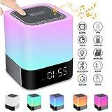 5 in 1 Tragbarer Bluetooth Lautsprecher Kabellos Nachttischlampe Touch Dimmbar, Wecker Digital, Freisprechen, MP3-Player, Lau