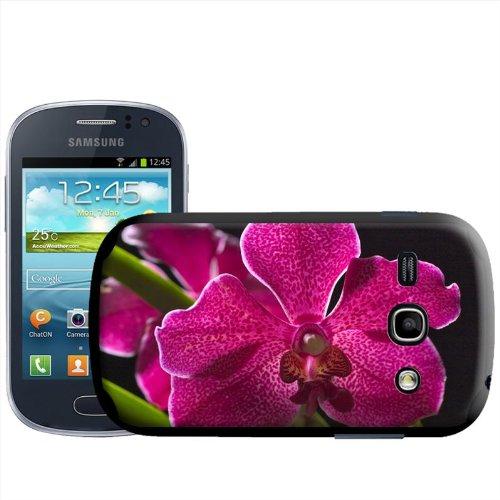 Fancy A Snuggle - Cover posteriore rigida a incastro per Samsung Galaxy Fame S6810, motivo: orchidea delle Hawaii color magenta screziata e foglie verdi