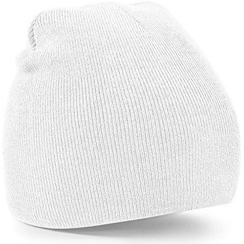 Tongshi Artículos de punto de lana de invierno de la gorrita tejida para hombre de las señoras unisex caliente del casquillo del cráneo de Esquí (Blanco)