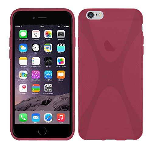 Apple iPhone 6 Plus (5,5 Zoll) - TPU Schutzhülle X-Style X Design Case Schutz Cover Etui Hülle in Lila - RT-Trading Pink