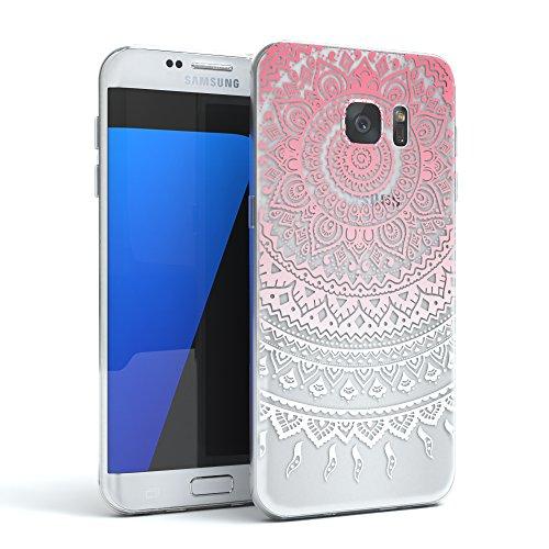 Samsung Galaxy S7 Edge Hülle - EAZY CASE Handyhülle - Ultra Slim Glitzer Schutzhülle aus Silikon in Champagner Henna Pink / Weiß