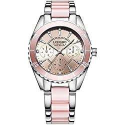 LONGBO Two Tone Strap Pink Women's Watches Japan Movement Analog Display Watch Luminous Hand Great Gift For Ladies