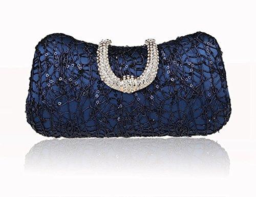 La borsa femminile nuova borsa a mano vestito bag sposa banchetto di sera di modo diamante fibbia borsa ( Colore : Nero ) Blu