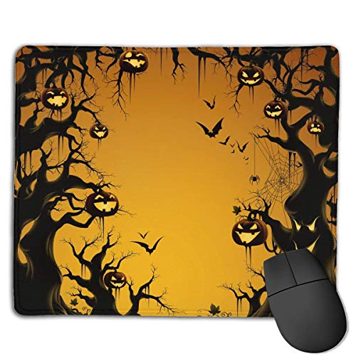 (ASKSWF Mouse Pad Halloween Bats and Pumpkin Rectangle Rubber Mousepad 8.66 X 7.09 Inch Gaming Mouse Pad with Black Lock Edge)