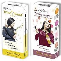 Set Regalo da Vino–Set Chef Caron vino e vino Bacchetta–Include il vino–Kit per pompa a vuoto con 4Tappi e il vino versatore, Aeratore per bacchetta,–tutto il necessario per servire e conservare il vino...