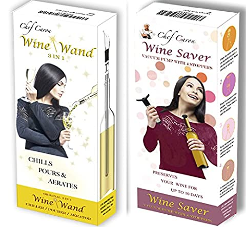 Wine Gift Set Bundle - Chef Caron Wine Saver & Wine Wand - Includes The (Conserve Gift Box)