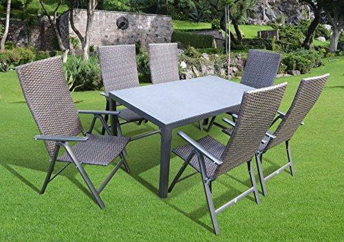 7-teilige Luxus Aluminium Polyrattan Spraystone Gartenmöbelgruppe 'Bukatchi #ZW' in anthrazit mocca-braun Klappsessel und Spraystonetisch