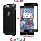 Goelectro OnePlus 5 / One Plus 5 / One Plus Five/ OnePlus 5 (COMBO OFFER) Original Rugged Armor Shock Proof TPU Case For OnePlus 5 Back Cover Case ( Black ) + 2.5D Curved 3D Edge To Edge Full Screen Tempered Glass Mobile Screen Protector - ( Black )