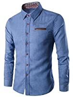 Tootlessly Men's Slim Fit Buttoned Long Sleeve Denim Shirt L Light Blue