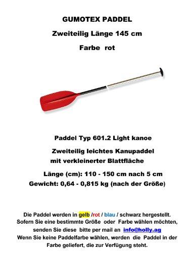 Remo Tipo 601.2Light kanoe Descripción del producto dos piezas remos de canoa ligero con verkleinerter blattfl Botón Longitud (cm): 110-150cm después de 5cm Peso: 0,64-0,815kg (según el tamaño) remo disponibles colores: azul-amarillo-rojo...