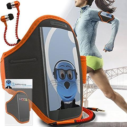 iTALKonline Motorola Droid Turbo 2 Arancione Nero regolabile Acqua / resistente all'umidità Sports GYM Jogging Correre copertura della cassa del bracciale della fascia di braccio con chiave di denaro cuffia Pocket include 3,5 millimetri di ZIP Cuffie Handsfree Mic e On / Off