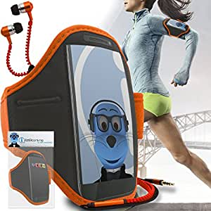 Orange Black Adjustable Sports GYM Jogging Running ArmBand Case Cover with 3.5mm Zip Style Headphones For Cubot Dinosaur
