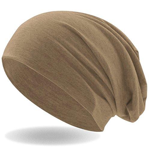 Hatstar Klassische Jersey Slouch Long Beanie Mütze, leicht und weich, Reversible Bicolor für Damen und Herren (Hellbraun)