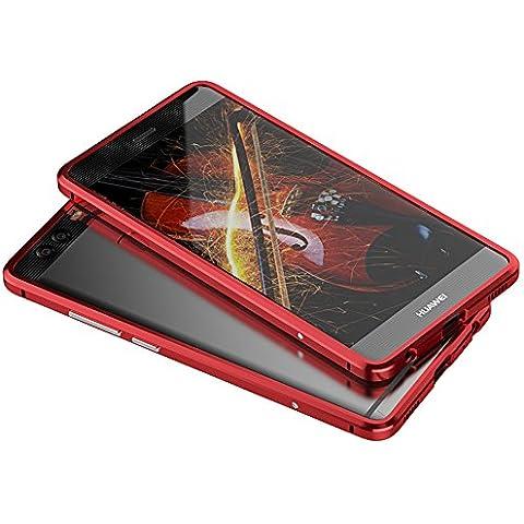 Sunroyal®para Huawei Ascend P9 Plus Funda 7 mm Metal Carcasa Delgada Desmontable Cáscara Bumper Case Cover Cubierta del Caso para Protección del Marco Portátil Rojo Funda Frame Parachoques Protector de Aluminio