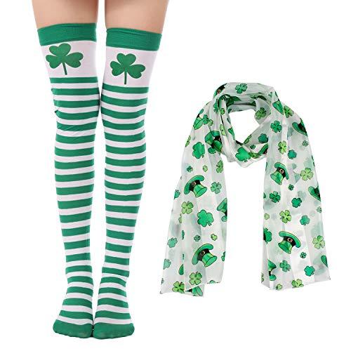 Felizhouse St. Patrick's Day Strümpfe Schal Kostüm für Damen Grün Kleeblatt gestreift Lange Oberschenkel Socken - Grün - (St Pattys Tag Kostüm)