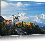 Schloss Neuschwanstein im Herbst, Format: 60x40 auf Leinwand, XXL riesige Bilder fertig gerahmt mit Keilrahmen, Kunstdruck auf Wandbild mit Rahmen, günstiger als Gemälde oder Ölbild, kein Poster oder Plakat