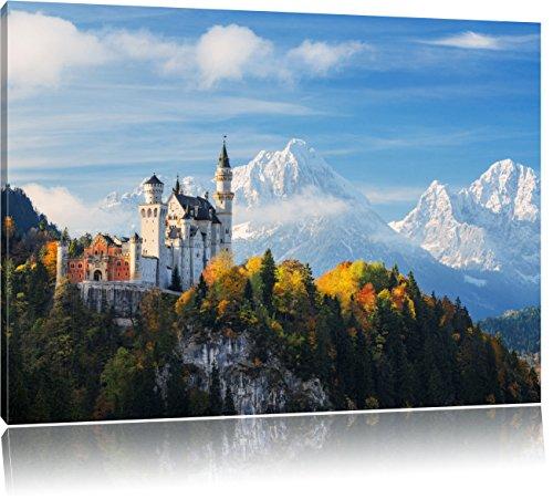 Schloss Neuschwanstein im Herbst, Format: 80x60 auf Leinwand, XXL riesige Bilder fertig gerahmt mit Keilrahmen, Kunstdruck auf Wandbild mit Rahmen, günstiger als Gemälde oder Ölbild, kein Poster oder Plakat (Schloss Neuschwanstein Poster)