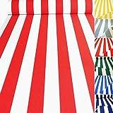 TOLKO Sonnenschutz CLASSIC Markisen-Stoff Meterware zum Nähen mit UV-Schutz 50+ | Wasserdicht, Extra Langlebig - ohne Ausbleichen, 120cm Breite (Rot-Weiß)