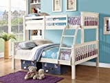 Home Source Triple Bunk Bed in WHITE or PINE - Three Sleeper - Triple Sleeper (White)