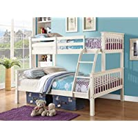 Home Source Triple Bunk Bed in WHITE or PINE - Three Sleeper - Triple Sleeper (White)