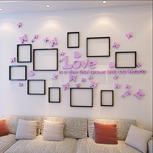 Neu Acrylwandsticker Fotorahmen Schmetterlingen Wanddekor 3D Wandbilder Pink