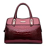 G-AVERIL Damen Lack Leder Handtasche/Damenhandtasche/Schultertasche/Crossbody Bag/Umhängetaschen/Henkeltasche Burgundy