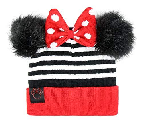 Cappello invernale bambina minnie disney con pon pon orecchie 3d e fiocco cuffia inverno
